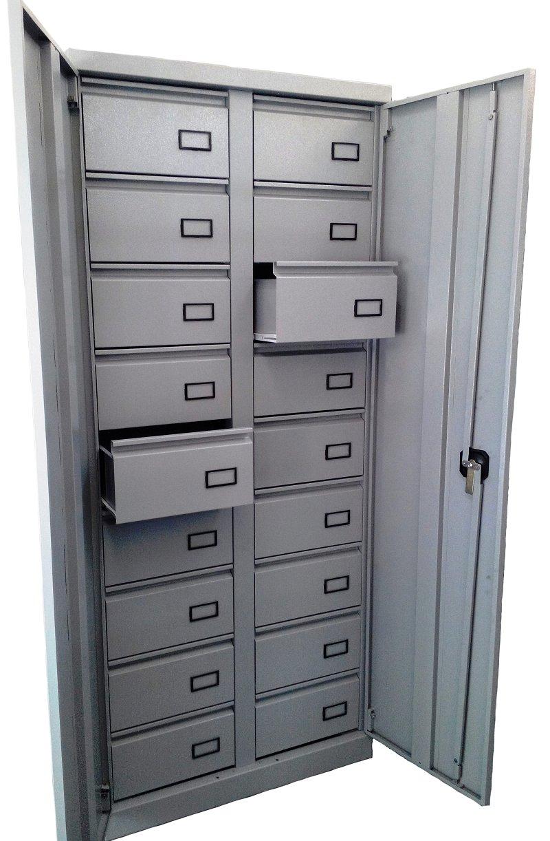 Металлические шкафы с выдвижными ящиками для хранения